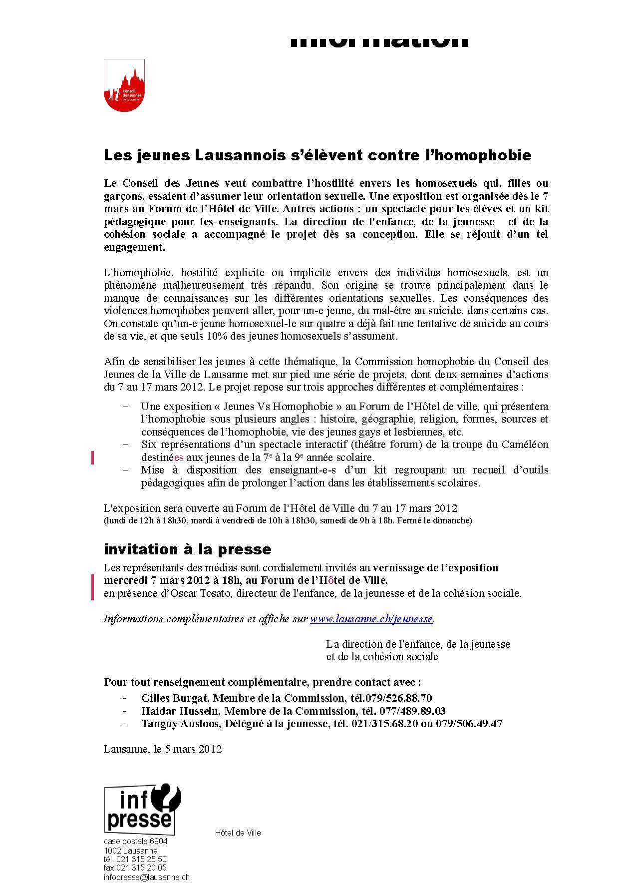 Communiqué de Presse 04.03.2012